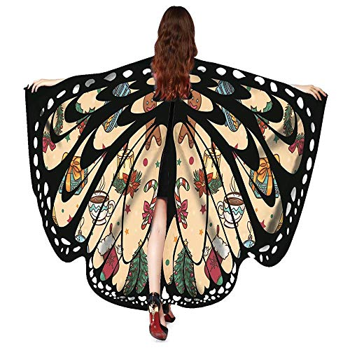 UJUNAOR Männer Damen Schmetterling Print Cape Schal Weihnachten Poncho Wrap Kostüm für Camping Outdoor Aktivitäten(Z1-Beige,One Size)