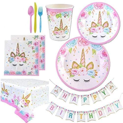 Unicorn Party Supplies Set   Unicorn Decorations and Tableware   Disposable and No Washing Up   Serves 16