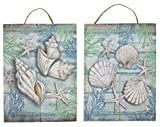Juvale Wooden Wall Ornament - 2-Piece Small Hanging Decorations Under The Sea Seashells Design, Natural Decor Living Room, Hallway Dining Room, 8 x 5.9 x 0.9 inches