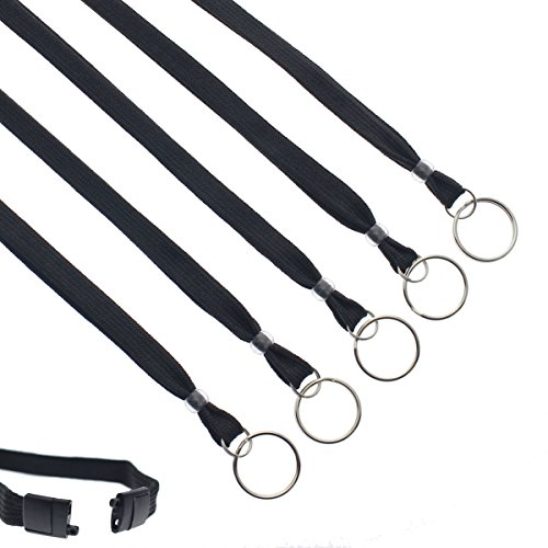 Bulk 100 Pack - Heavy Duty Breakaway Lanyards for Keys and ID Badges with Key Chain Split Ring - Break-Away Clasp and Keychain Keyring/Badge Holder Attachment by Specialist ID (Black)