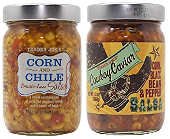 Trader Joes Corn and Chile Tomato-less Salsa and Cowboy Caviar Bundle 1 Bottle of Each Flavor.