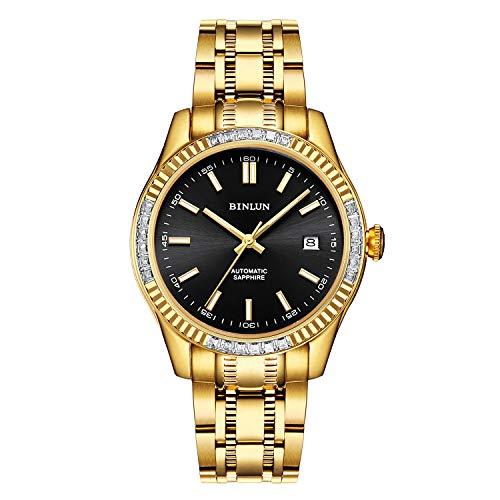 腕時計 メンズ ゴールド BINLUN 機械式 自動巻き時計 男性 防水 日付表示 おしゃれ カジュアル ビジネス ウォッチ 金色 人気 ステンレススチール うで時計 紳士 父の日ギフト