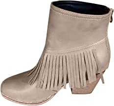 BALABA◕。 Womens Cowboy Western Fringe Ankle Boots Round Toe Zipper Thick High Heel Leather Vintage Tassel Boots