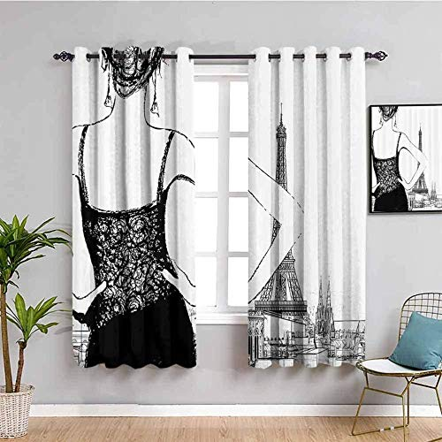 LTHCELE Opacas Cortinas Dormitorio - Negro Blanco Torre Eiffel niña - Impresión 3D Aislantes de Frío y Calor 90% Opacas Cortinas - 280 x 245 cm - Salon Cocina Habitacion Niño Moderna Decorativa