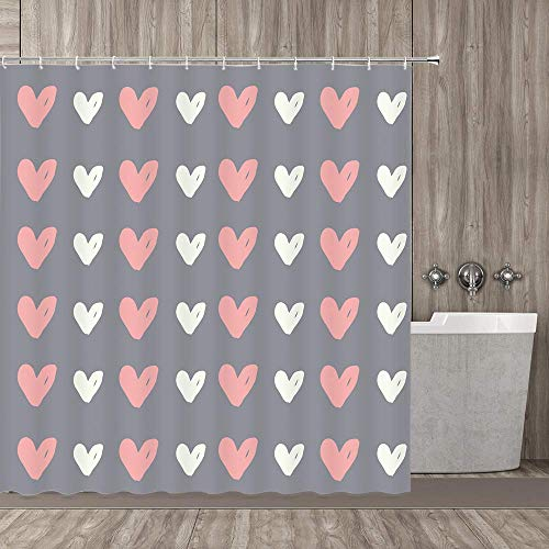 MZLKL Happy Valentine's Day Shower Curtain Grey Background...