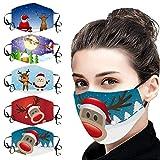 5 Stücke Weihnachts Mundschutz Stoff Erwachsene Waschbare Wiederverwendbar Atmungsaktiv Lustig Bunt Mit Motiv Mund und Nasen Maske und Nasenschutz Halstuch (Multicolor 19)