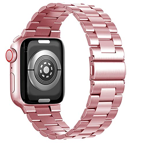 Maxjoy Compatible with Apple Watch Band, 38mm 40mm 42mm 44mm Metal Replacement Strap Solid Stainless Steel Bracelet Compatible with Apple iWatch Series 6 5 4 3 2 1 SE Sport Edition, Pink