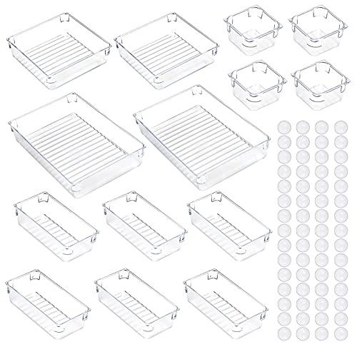 YUNKE Schubladen Ordnungssystem, 14 Stück Schubladen Organizer, 4 Größen an Schubladeneinsätzen, Aufbewahungsbox für Küchenutensilien Schlafzimmer Büro Make-up