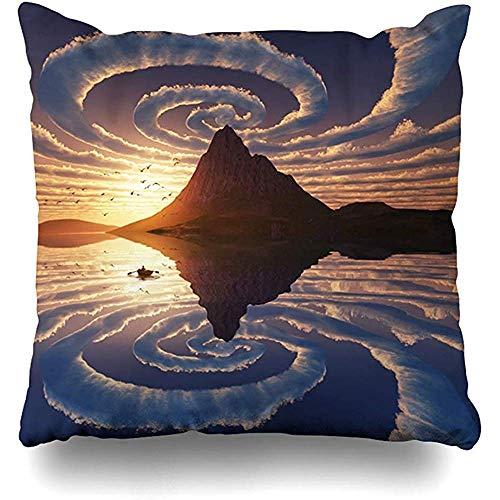 qinzuisp Kussensloop Horizon Vortex Reflectie Spiraal Wolken Over Mountain Peak Natuur Beach Boot Kalm Klimaatontwerp Ring Home Decor Ontwerp Vierkante Grootte Rits 45X45CM