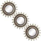 N / A Lot de 3 petits miroirs muraux ronds décoratifs