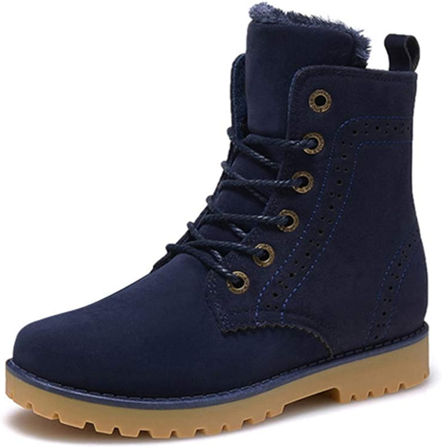 ZHRUI Men Boots Winter Snow Warm Casual shoes Leather Plush Fur Fashion Unisex Boots (color   Navy, Size   8.5 UK)