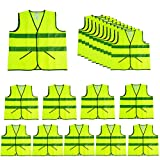 CIMC,Yellow Reflective Safety Vests with Pockets,10 Pack,High Visibility Construction Vest,Hi Vis Sliver Strip,Made from Neon Yellow Breathable Mesh,Working outdoor for man,woman (neon yellow)…
