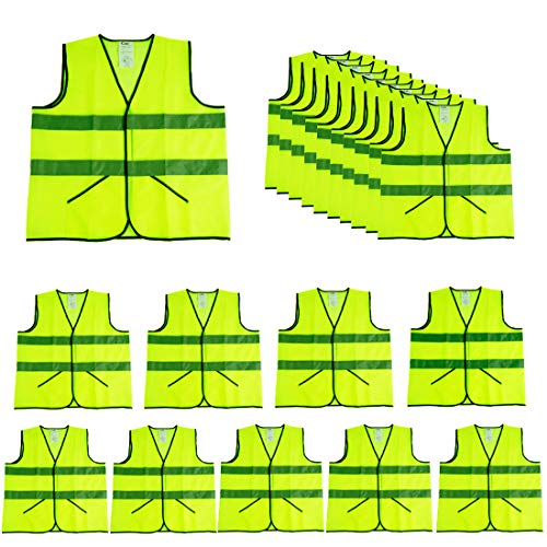 CIMCYellow Reflective Safety Vests with Pockets10 PackHigh Visibility Construction VestHi Vis Sliver StripMade from Neon Yellow Breathable MeshWorking outdoor for manwoman neon yellow