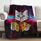 Levens Cat Throw Blanket Pizza Galaxy Soft Blanket for Bed Couch Sofa Lightweight Travelling Camping Throw for Kids Adults 50'x60'