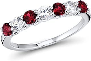 Lab Created Ruby Ring in Sterling Silver with Alternating Created White Sapphires - 7 Stone Band Style