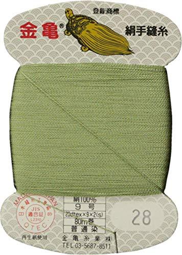 手縫い糸 『絹糸 9号 80m カード巻き 28番色』 金亀糸業