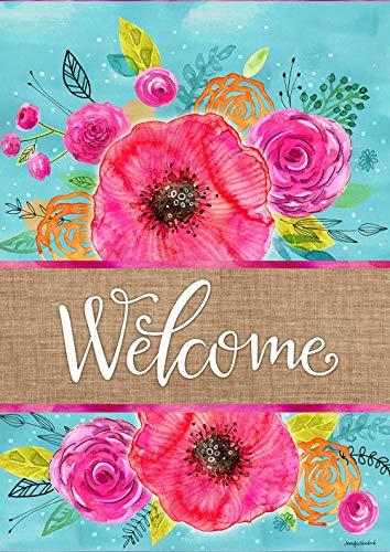 Diavy Home Garden Blue Welcome 12.5 x 18 Inch Decorative, Garden Flag (12.5' x 18')