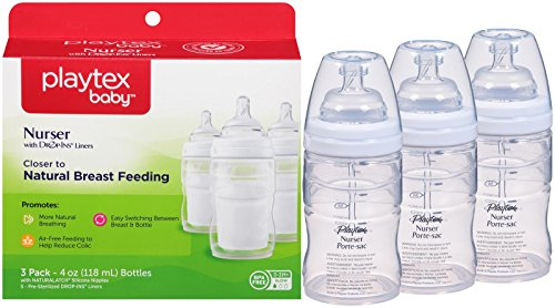 Playtex BPA Free Premium Nurser Bottles with Drop In Liners 3 Count, 4 Ounce by Playtex