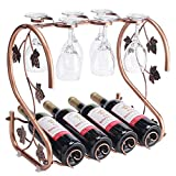 Freestanding Countertop Wine Rack with Glass Holder, Holds 4 Bottles and 6 Stemwares