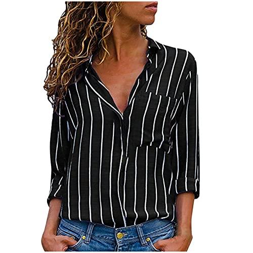 Heiß Herbst Hemd Damen Hevoiok Sexy T-Shirt Langarmshirt Mode Tops Oberteile Langarm Streifen Hemdbluse Bluse Pullovers (Schwarzer, M)