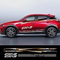 1セット車反射ビニールデカール自動ドアサイドスカートステッカー自動車ボディ装飾防水デカールカーアクセサリー、マツダCX-3光沢のある黒