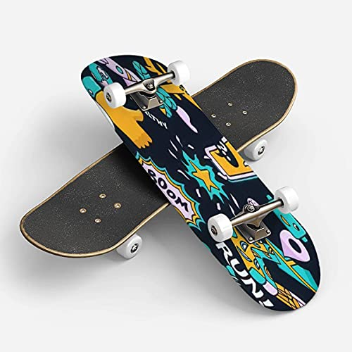 Classic Concave Skateboard Longboard Maple Deck Bright Set from Different Modern Trend Icons Seamless Dark Background Patinetas for Beginners Professionals Extreme Sports Outdoors Double Kick Trick