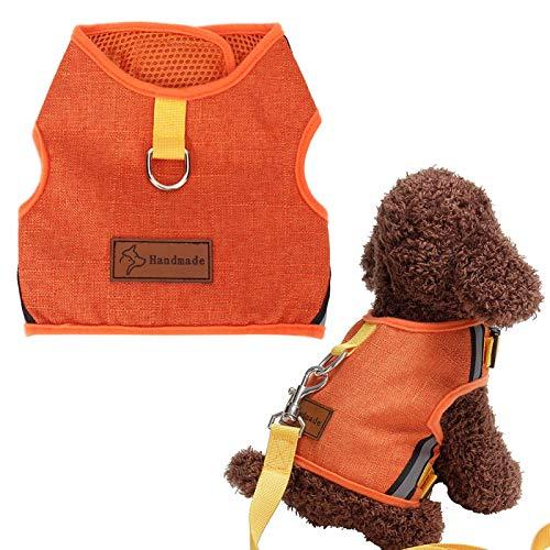 SALUTUYA Dog Traction Rope Set mit Gurtzeug, 3 Größen und 2 Farben, atmungsaktivem Mesh-Gurtband, Hundegeschirr und Leine(Orange, S)