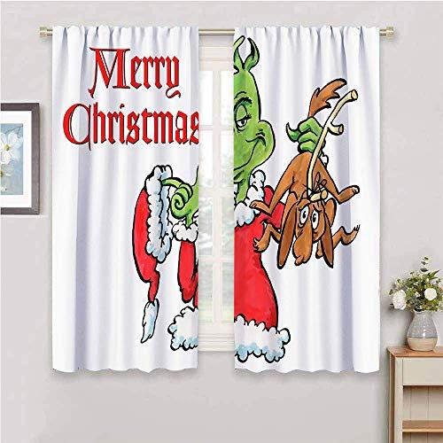 Cortinas opacas con aislamiento térmico y bolsillo para barras, para sala de estar, decoración de año nuevo, 55 x 45 pulgadas