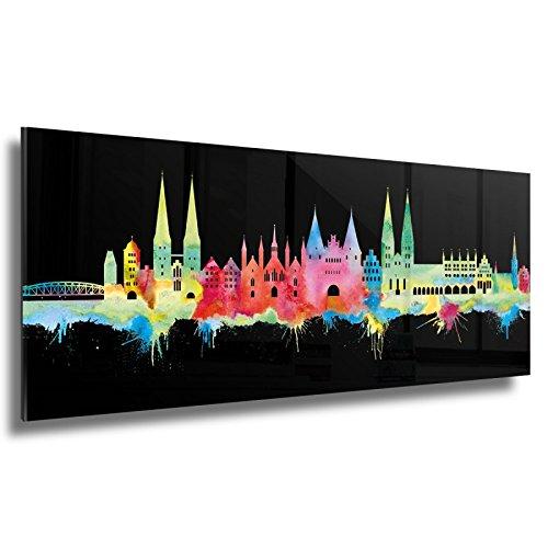 Kunstbruder Skyline Lübeck - Acrylglas - Neon (div. Größen) - Kunst Druck auf Acrylglas 50x140cm