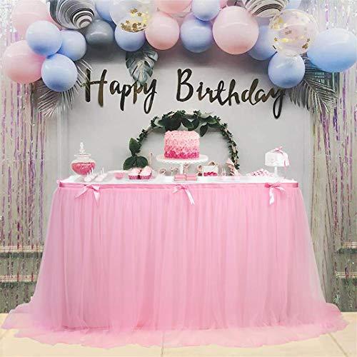 Airlove Tüll Rosa Tischrock Romantische Tutu Flauschiger Tischrock für Hochzeit Baby Shower Girl Prinzessin Geburtstagsfeier Dekor