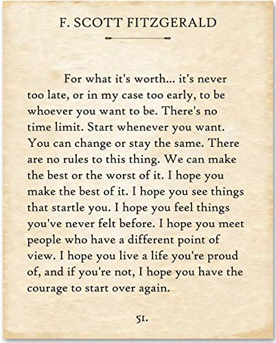 F. Scott Fitzgerald - For What It s Worth. - 11x14 Minimalist Unframed Quote Book Page Print - Great Gift for Wedding, Anniversary and Birthday and Decor for Home, School & Office Under $15