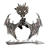 Soly Teche Dragon Costume for Kids Boys Girls, Dragon Wing, Dragon Tail, Dragon Mask Set for Child Halloween Cosplay Prop Silver