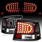 AmeriLite Black LED Replacement Brake Tail Lights Set For 06-08 Dodge Charger - Passenger and Driver Side