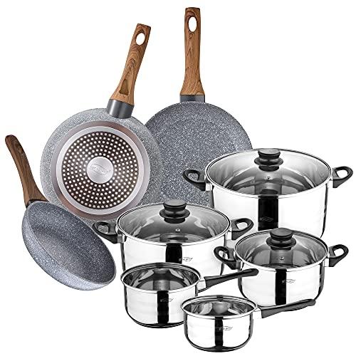 San Ignacio Bateria de cocina 8 piezas en acero inoxidable, con juego de sartenes (18,20,24 cm) en aluminio forjado, inducción, PK3151