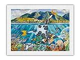 Pacifica Island Art Día Libre de la lechería - Vaca de Snorkel Hawaiana (Bipi Wahine) - De Acuarela de Hawái de Peggy Chun - Impresión de Arte Papel Premium de Arroz Unryu 46x61cm
