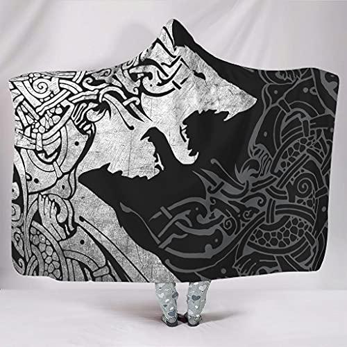 STELULI Manta con capucha Viking Skoll And Hati Fenrir Wolf Original Warm Multicolor Style Hood Cobija - Hati Fenrir Wolf Se adapta a sofá silla para adolescentes regalo blanco 60 x 80 pulgadas