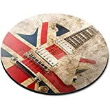 Tappetino per mouse rotondo - Brit Pop Rock Guitar Music England Office Gift