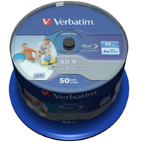 Verbatim 43812 25GB BD-R Disco BLU-Ray Lectura/Escritura (BD) - BD-RE vírgenes (BD-R, 25 GB, 405 NM, Eje, 50 Pieza(s))