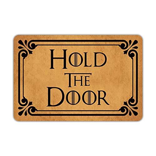 """ESDGVUH Front Door Mat Welcome Mat Hold The Door Rubber Non Slip Backing Funny Doormat Indoor Outdoor Rug 23.6""""(W) X 15.7""""(L) 18x30(IN)"""