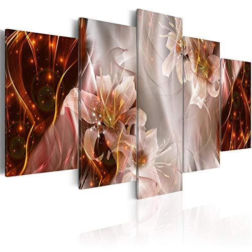ZDDBD 5 Stück Klassische Blumen Poster Bling Wandkunst Elegante Lilien Blüte Leinwand Malerei Bilder für Wohnzimmer Home Decor