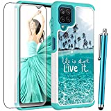 for Samsung A12 Case with Tempered Glass Screen Protector,Voanice Galaxy A12 Case Dual Layer Shockproof Heavy Duty Hybrid Protective Hard PC& Silicone Women Girls Men Cover for Samsung Galaxy A12-Teal