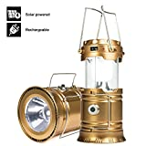YIEASY Led Camping Lantern, Rechargeable Solar Lanterns Collapsible, Bright Lamp Outdoor Flashlight Portable for Camp, Power Outages, Emergencies, Hurricanes(Gold, 1 Lantern)