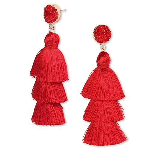 Ohrringe Ohrhänger Quaste Fransen Ohrringe Große Lange Bohemian Ohrstecker für Frauen Damen Mädchen (Rot)