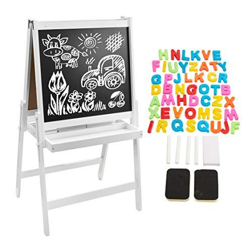 Pizarra Magnética Infantil de Madera, Doble Cara con Letras Magnéticas Coloridas, Tiza y Esponja - Caballete de Pintura Para Niños con Pies Regulables - Juguete Educativo Para Niños A Partir D