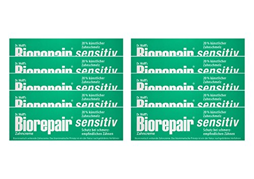 10x Biorepair Zahncreme sensitiv mit Hydroxylapatit 75 ml Ohne Fluorid