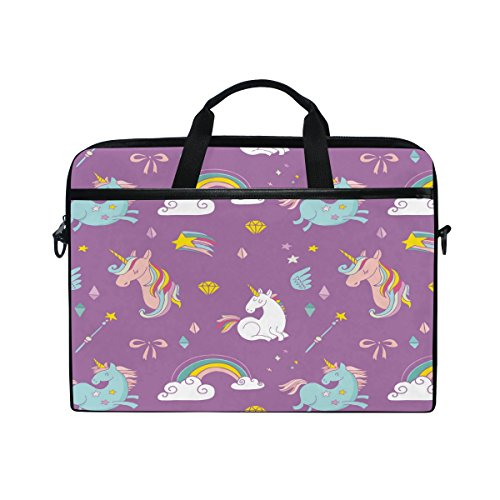 Laptop Case, Unicorns Rainbow Printed with 3 Compartment Shoulder Strap Handle Canvas Notebook Computer Bag Personalised Perfect for Boys Girls Women Men 13 13.3 14 15 inch