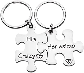 Couples Keychains Set Anniversary Valentines Day Gifts His Crazy Her Weirdo Birthday Gift Couple Husband Wife Girlfriend Boyfriend Him Her Puzzle Piece Stocking Stuffers for Men