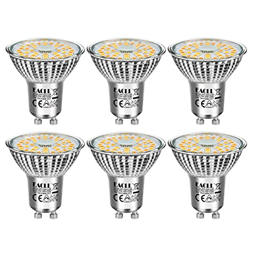 EACLL LED GU10 Dimmbar Warmweiss Leuchtmittel 6W 2000K-3200K 485 Lumen Birnen Stufenloses Kontinuierliches Dimmen PAR16 Reflektorlampen. Flimmerfrei Strahler, 120 ° Warmweiß Licht Spotleuchten, 6 Pack