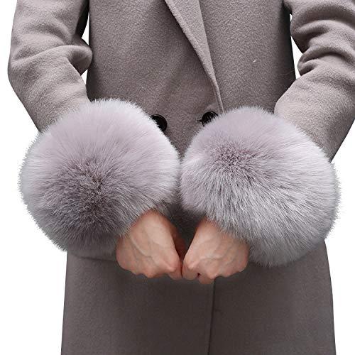 LAEMILIA Faux Fell Stulpen Pulswärmer Damen Kunstfell Armstulpen Frauen Winter Handgelenk Wärmer
