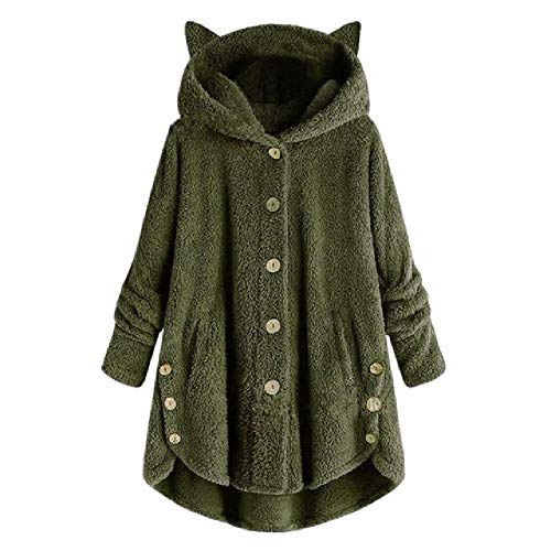 OKJI 2019 Vrouwen Teddy Fleece Trui Oversized 5XL KorUPC Kat Hooded Cardigan Winter Herfst Warm Fluffy Jas Sherpa Truien
